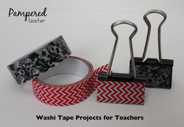 binder clips decorated with washi tape and other washi tape ideas for #teachers
