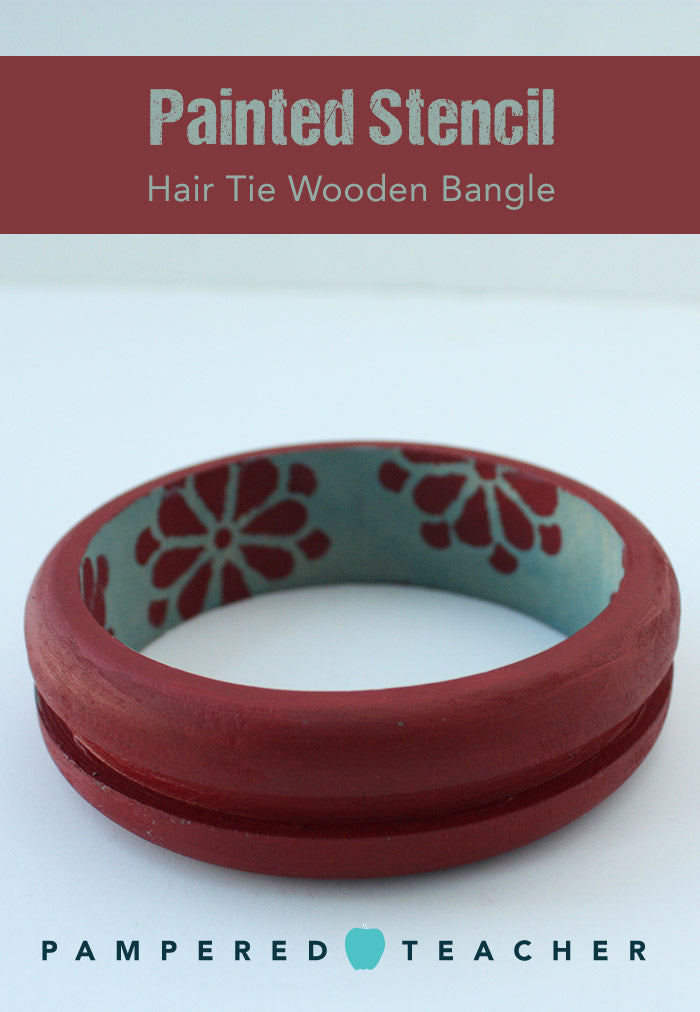 Painted stencil wood bangle bracelet with a groove for a pony tail holder - a fashion accessory and hair accessory in one