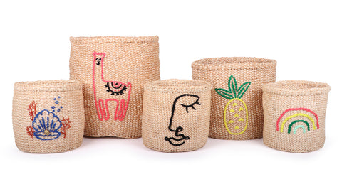 Embroidered Motif Baskets
