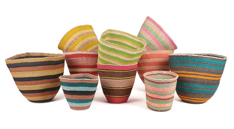 Extra-Fine Colourful Woven Planter Baskets