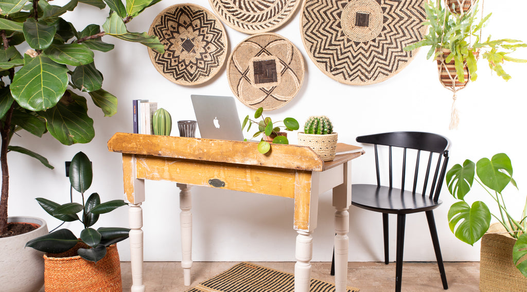 WFH set up with handwoven African baskets