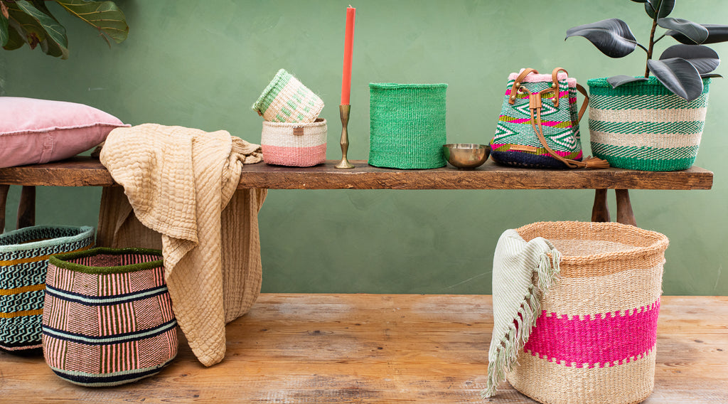 SS21 TREND EMERALD: collection of natural baskets handwoven in africa
