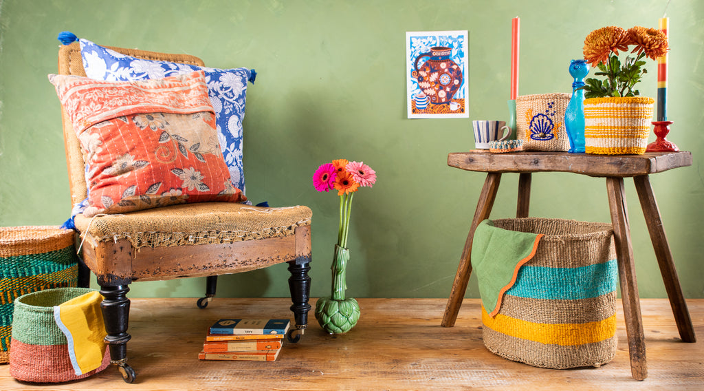 A colourful collection of baskets mixed with quirky accessories