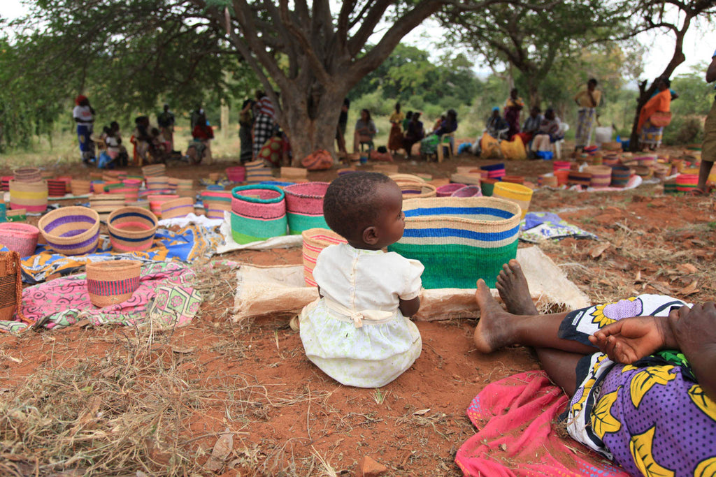 The Basket Room African Basket Weavers and Child