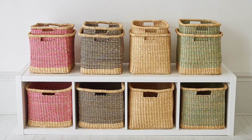 Square And Rectangular Storage Baskets Hand Woven