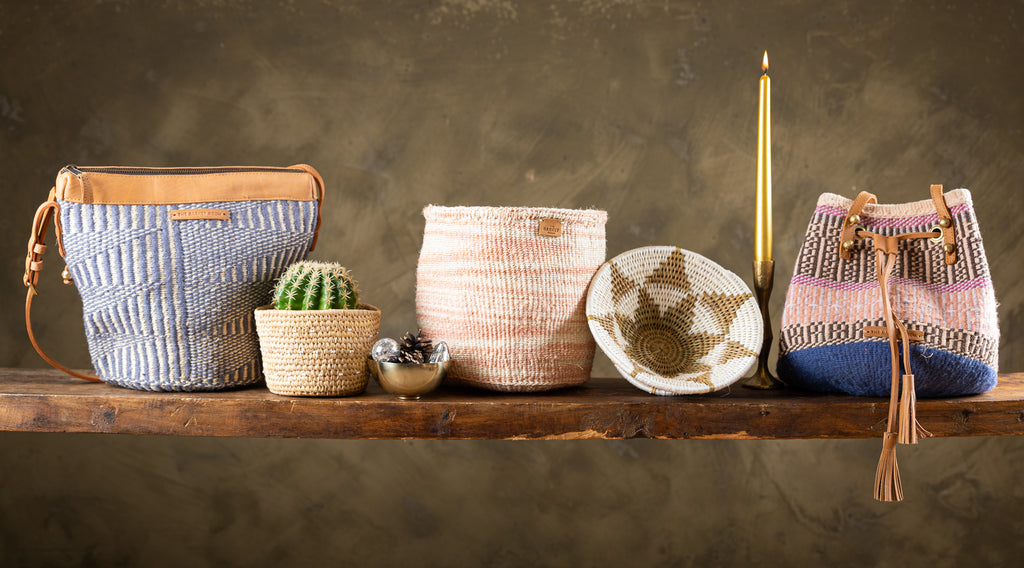Ethical Christmas gifting options for her, gift handwoven baskets and bags from Kenya