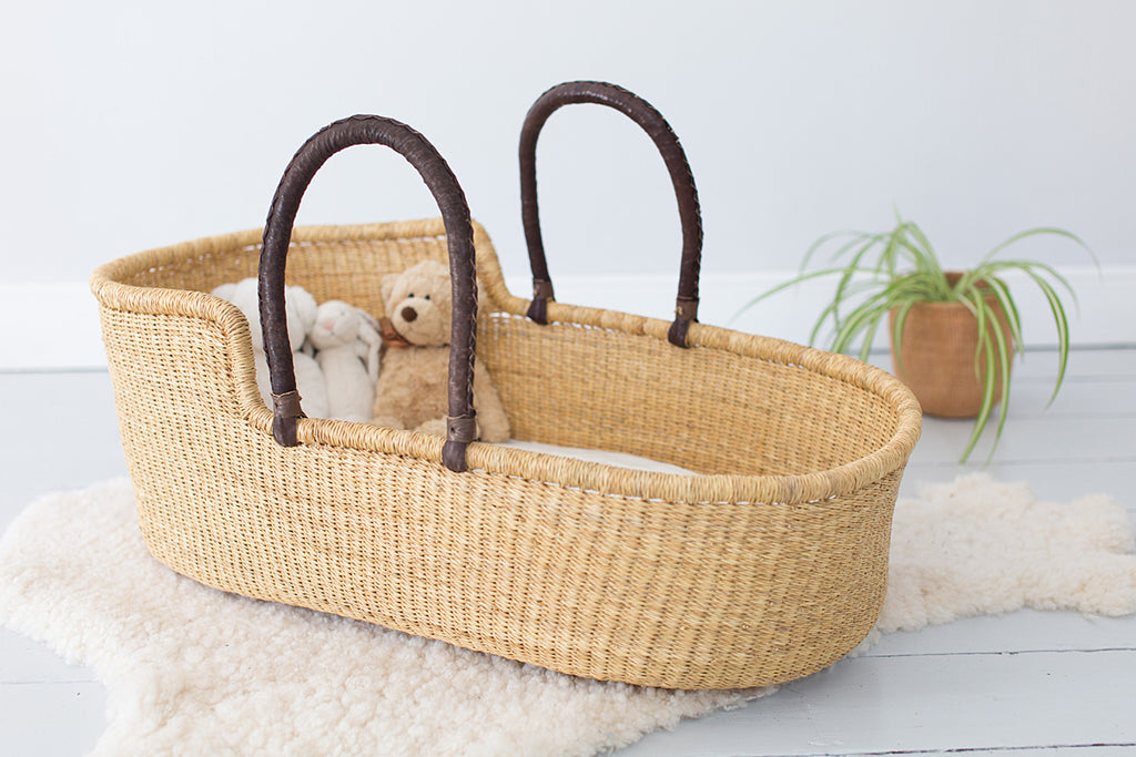 natural woven moses basket for babies
