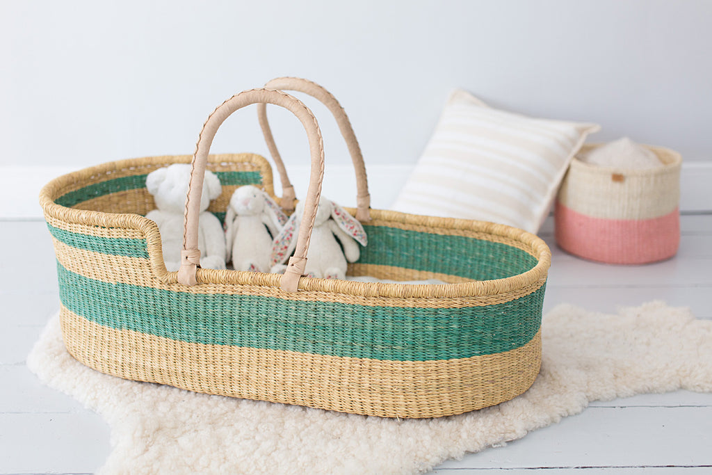 Turquoise woven moses basket for babies