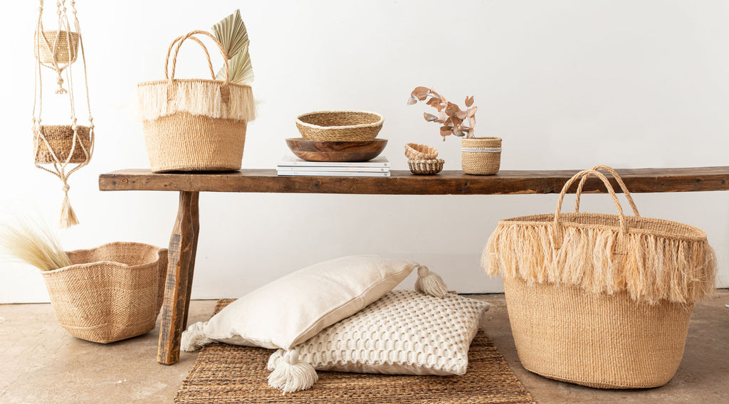 SS21 TREND CRAFTED RETREAT: collection of natural baskets handwoven in africa