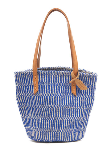 MALKIA: True Blue Wool and Sisal Tote Bag