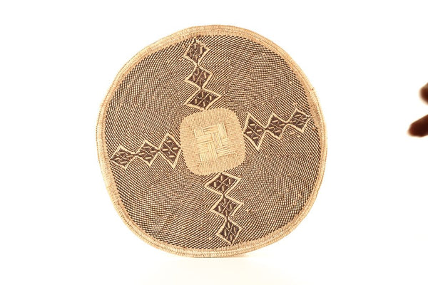 THANDAZANI: Large Brown and Natural Wall Basket: 40cm dia