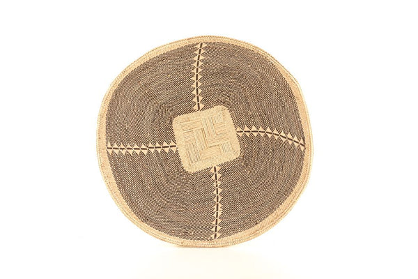 THANDO: Large Brown and Natural Wall Basket: 38cm dia