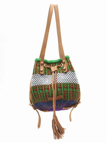 MAPENZI: Handwoven Green, Red and Blue Backpack