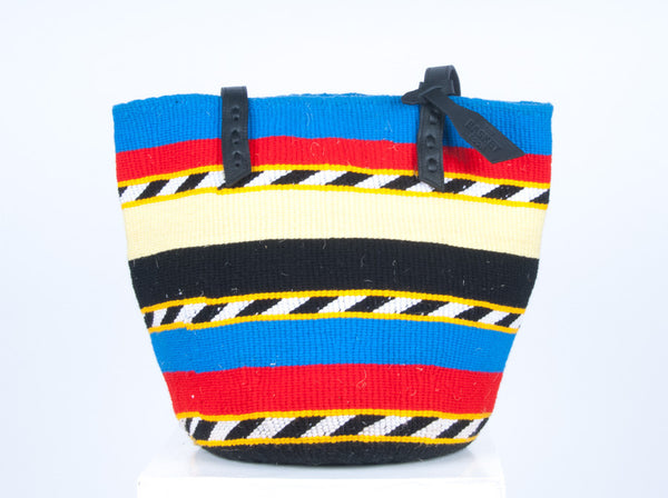 HALIMA: Handwoven Blue, Red and Black Wool Tote Bag - Tote Bag - The Basket Room