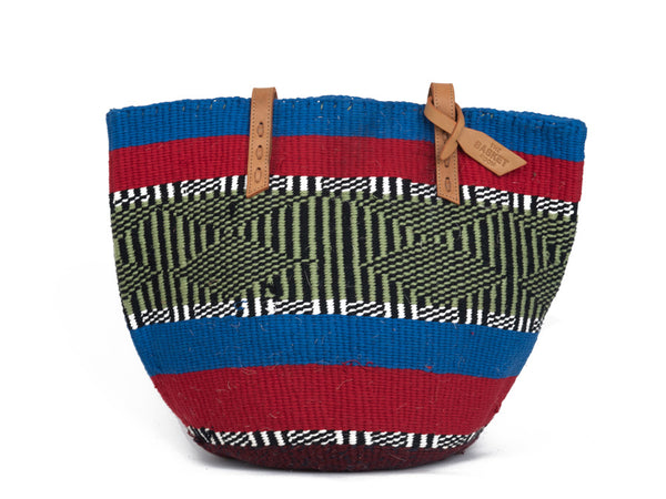 WEKA: Handwoven Blue and Red Wool Tote bag