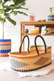 WINNEBA: Black, Orange & Turquoise Geo Woven Moses Basket
