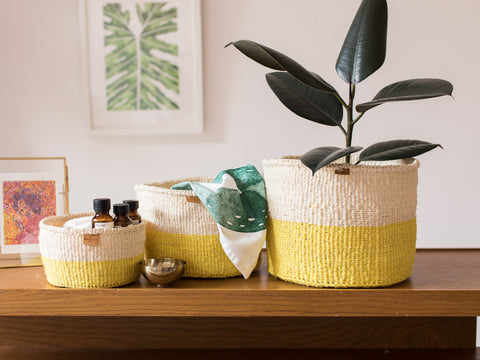 ALIZETI: Yellow Colour Block Woven Basket