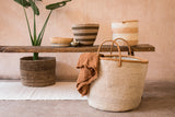 HERI: Natural and White Speckled Woven Laundry Basket