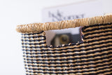 AKOSU: Black Striped Rectangular Baskets