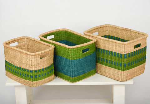 PO: Green and Turquoise Rectangular Storage Baskets - The Basket Room   - 1