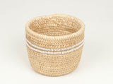 NYEUPE: White Beaded Duom Palm Leaf Baskets - Doum Palm - The Basket Room
