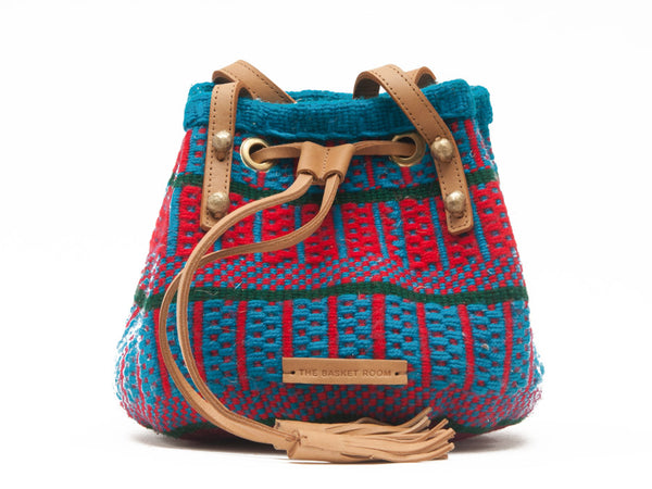 HASIRA: Handwoven Blue and Pink Bucket Bag