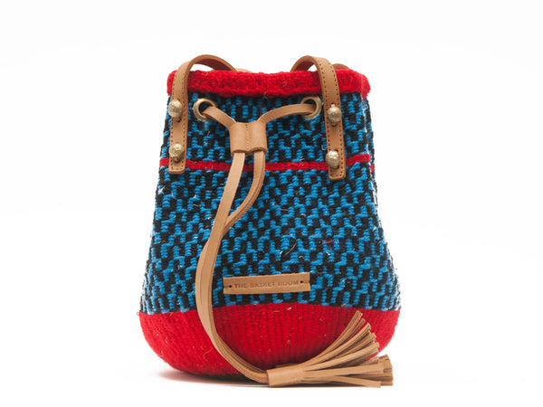 HEKAYA: Handwoven Blue, Black and Red Bucket Bag