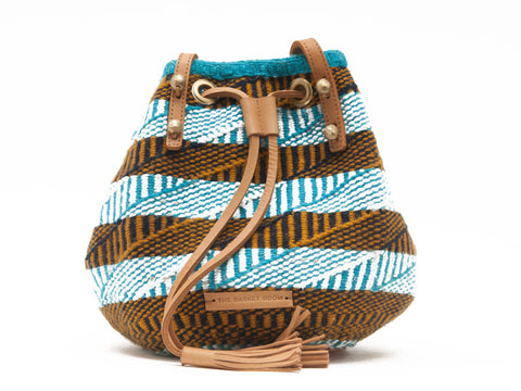 KANDISI: Handwoven Turquoise, White and Yellow Bucket Bag