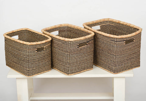 AKOSU: Black Striped Rectangular Baskets - The Basket Room   - 1