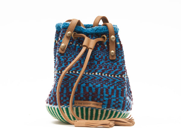 MAKOSA: Handwoven Maroon and Turquoise Bucket Bag