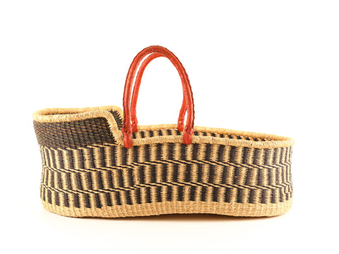 KAA: Brown Patterned Woven Moses Basket