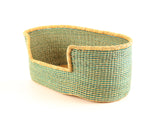 ENCHI: Turquoise Stripe Woven Dog Basket - Medium