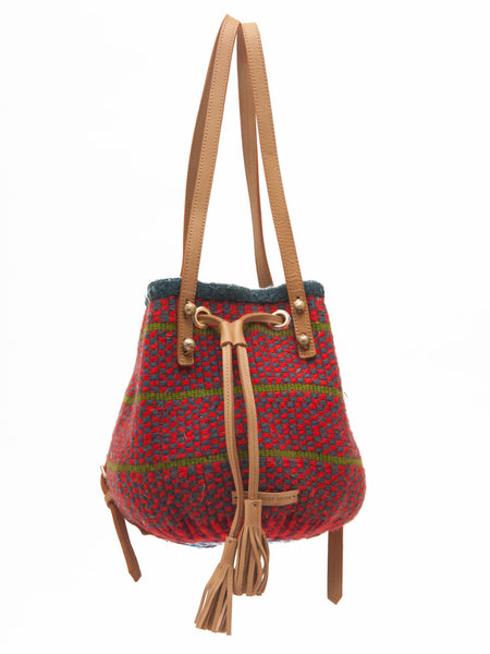 DUARA: Handwoven Green and Red Backpack