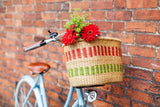 TUMU: Handcrafted Red and Green Oblong Bike Basket