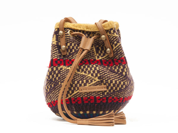 ANAKUPENDA: Handwoven Brown with Red Wool Bucket Bag