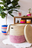 HAPA: Dusky Pink Colour Block Lidded Laundry Basket