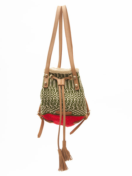 MIPANGO: Handwoven Green and Beige with Red Backpack