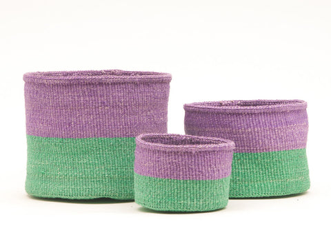 ASUBUHI: Green & Purple Duo Colour Block Woven Basket