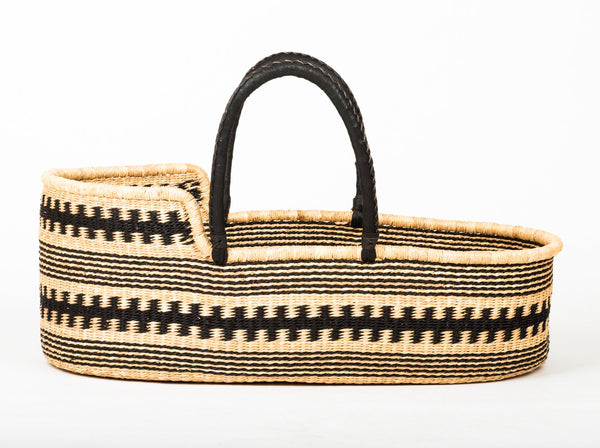 HUNTUMA: Black Pattern Moses Basket - Baby - The Basket Room