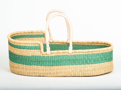 BRUU: Turquoise Woven Moses Basket