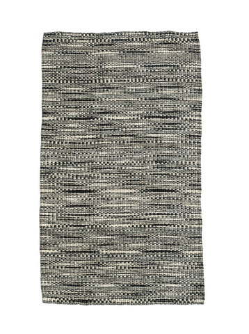 SAKAFU: Black and White Woven Floor Mat - Floor Mat - The Basket Room
