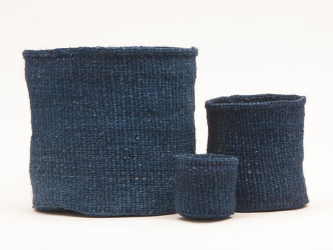 BLUU: Denim Blue Woven Storage Basket