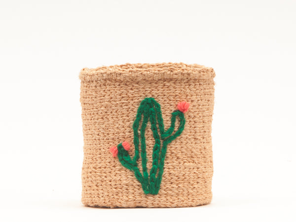CACTUS: Green Plant Embroidered Woven Storage Basket
