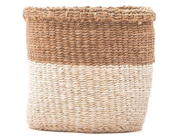 CHAMA: Khaki & White Colour Block Storage Basket