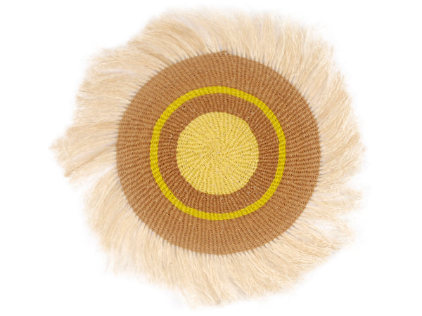 BABA: Medium Yellow and Brown Fringed Wall Hanging: 31cm Dia