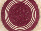 BAHARIA: Medium Maroon and White Fringed Wall Hanging: 28cm Dia