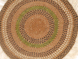 FIKIRIA: Large Black, Green and Brown Fringed Wall Hanging: 40cm Dia