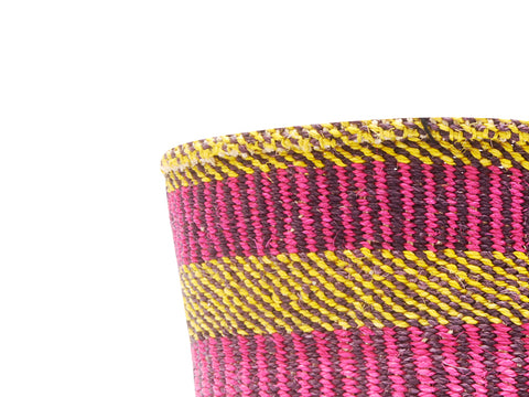 ANDIKA: Small Brown Striped Sisal Basket