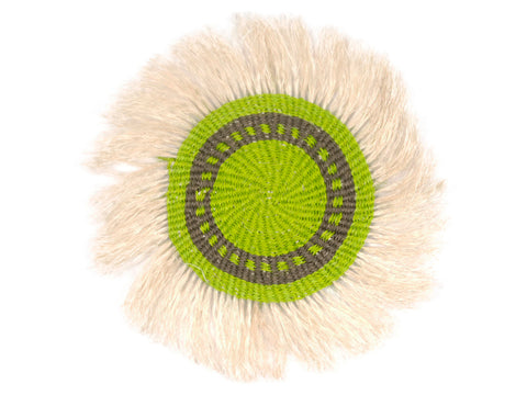 HEMA: Small Black and Green  Fringed Wall Hanging: 24cm Dia