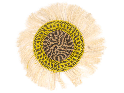 HEWA: Small Yellow and Black Fringed Wall Hanging: 23cm Dia